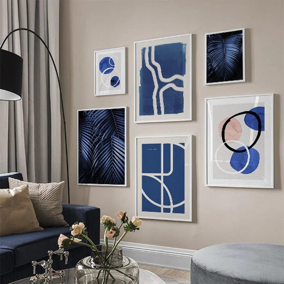Abstract Blue Palette Lines Mix & Match Gallery from Gallery Wallrus | Eclectic Wall Art & Decor with Worldwide Shipping