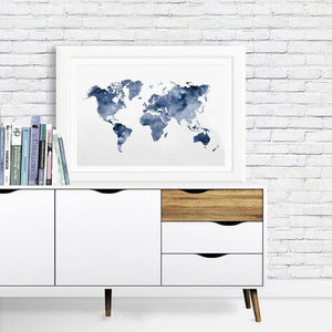 Blue World Map Art Print from Gallery Wallrus | Eclectic Wall Art & Decor with Worldwide Shipping