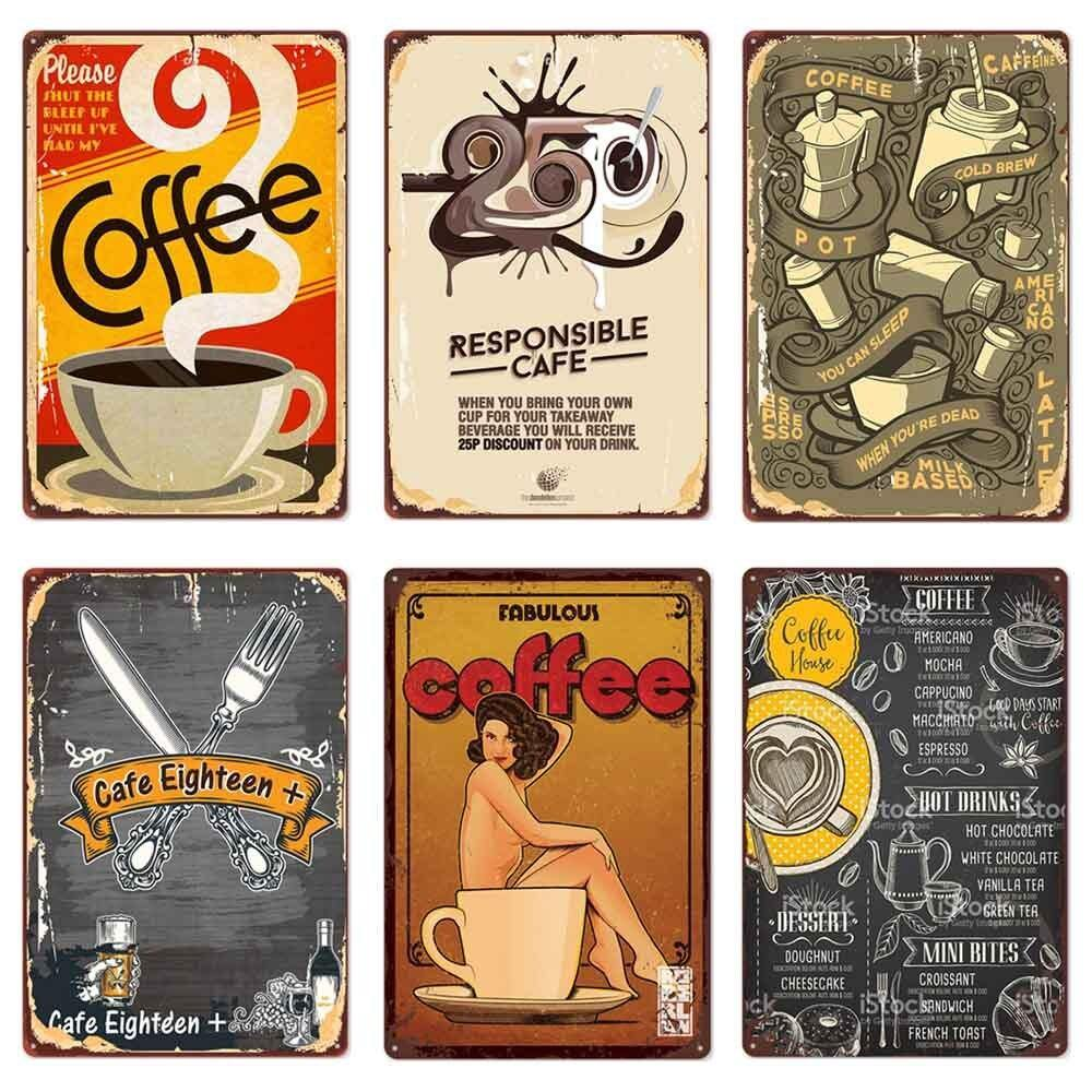 Fun Retro Vintage Coffee Wall Signs for Cafe Decor (Mix & Match) from Gallery Wallrus | Eclectic Wall Art & Decor with Worldwide Shipping