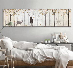 Wide Misty Deer Forest Art from Gallery Wallrus | Eclectic Wall Art & Decor with Worldwide Shipping