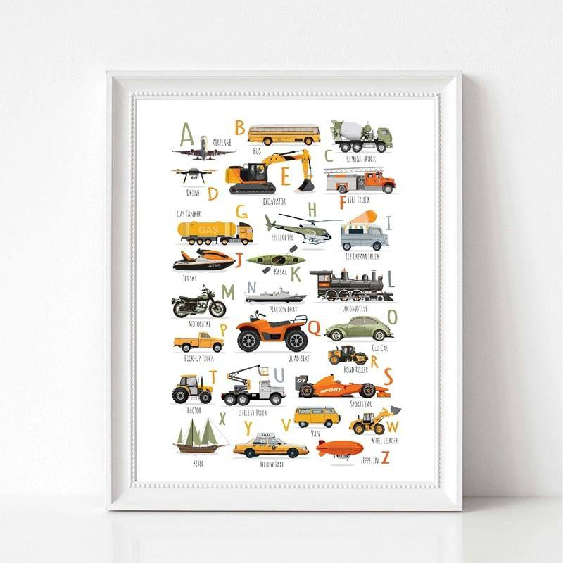 Cars Trucks and Planes Alphabet Children's Wall Art Print from Gallery Wallrus | Eclectic Wall Art & Decor with Worldwide Shipping