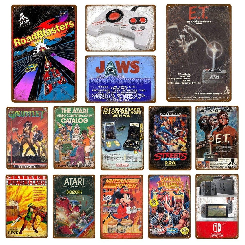 Classic Retro Video Games Metal Wall Art Signs Mix & Match from Gallery Wallrus | Eclectic Wall Art & Decor with Worldwide Shipping