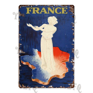 Vintage France Paris Blue Metal Wall Signs (Mix & Match) from Gallery Wallrus | Eclectic Wall Art & Decor with Worldwide Shipping