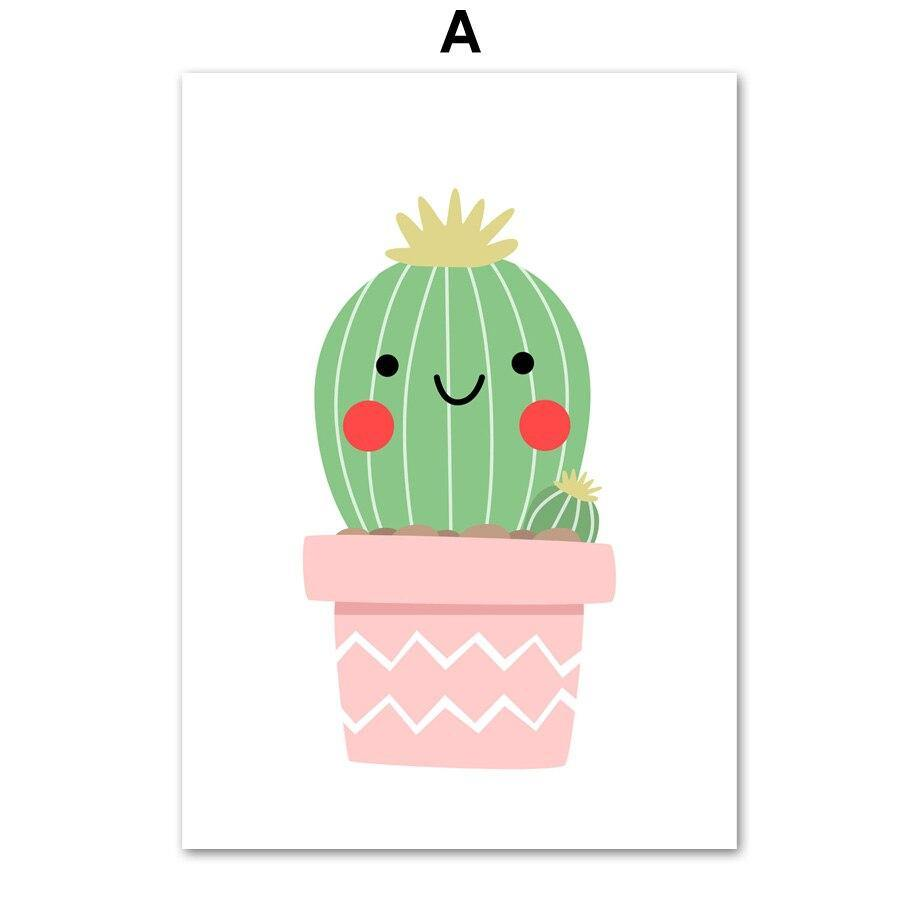 Smiling Cartoon Cactus Wall Art for Kids Bedroom from Gallery Wallrus | Eclectic Wall Art & Decor with Worldwide Shipping