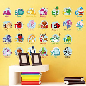 Alphabet Letters with Picture Samples Wall Sticker from Gallery Wallrus | Eclectic Wall Art & Decor with Worldwide Shipping