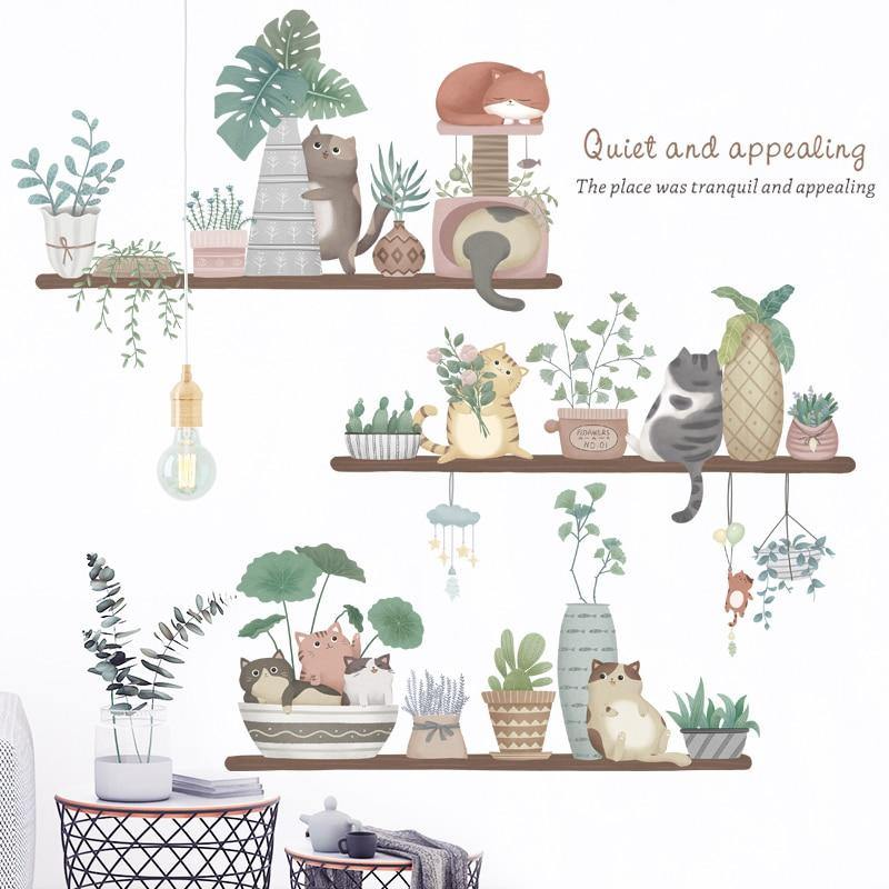 Cute Cat Flowerpot Plant Baby Wall Stickers from Gallery Wallrus | Eclectic Wall Art & Decor with Worldwide Shipping