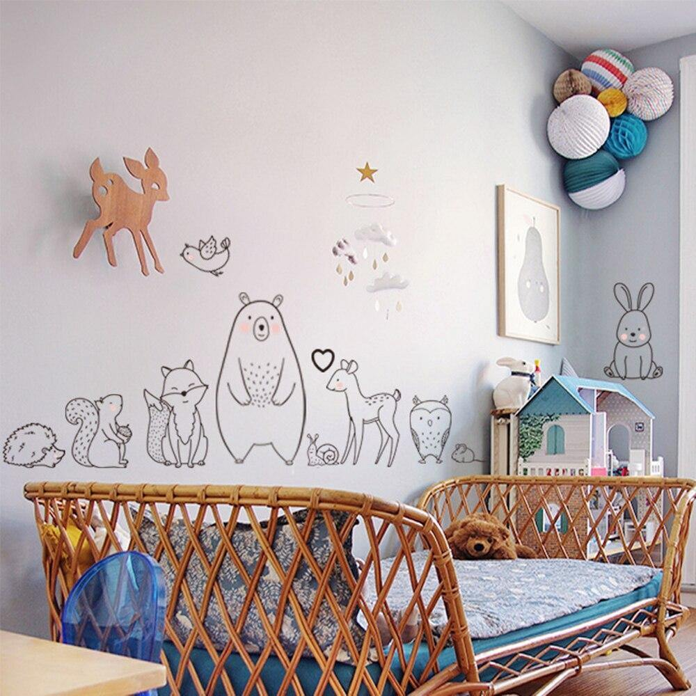 Drawing Bear Fox Animal Art Decals Wall Stickers from Gallery Wallrus | Eclectic Wall Art & Decor with Worldwide Shipping