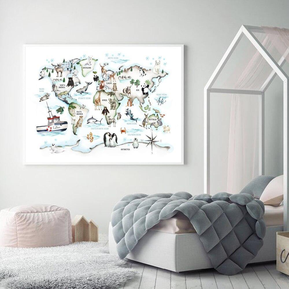 Wild Animals Wall Art Map Picture for Kids Bedroom from Gallery Wallrus | Eclectic Wall Art & Decor with Worldwide Shipping