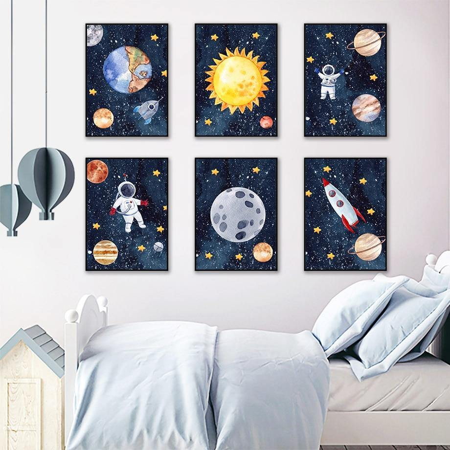 Cartoon Astronaut Galaxy Space Kids Gallery Wall from Gallery Wallrus | Eclectic Wall Art & Decor with Worldwide Shipping
