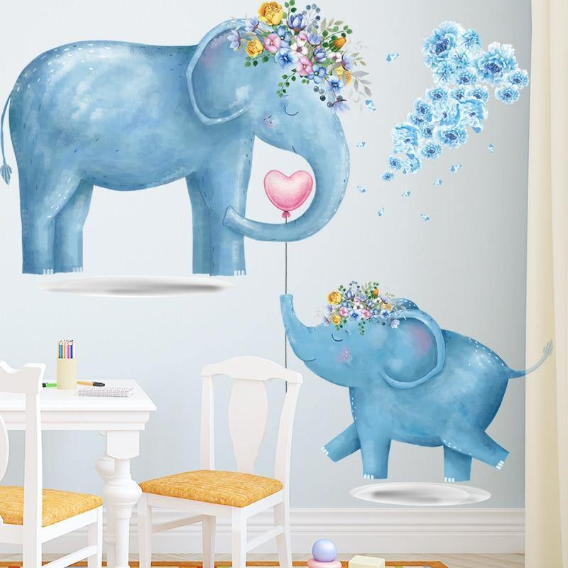 Cute Blue Elephants Nursery Wall Sticker from Gallery Wallrus | Eclectic Wall Art & Decor with Worldwide Shipping