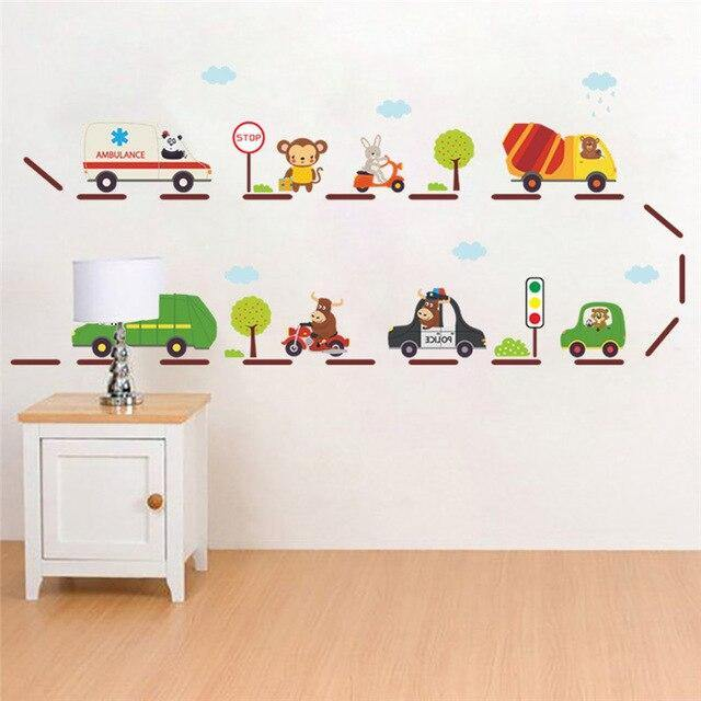 Children Cartoon Cars Highway Wall Stickers from Gallery Wallrus | Eclectic Wall Art & Decor with Worldwide Shipping
