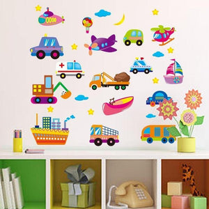 Colorful Cartoons Cars Ships Wall Stickers from Gallery Wallrus | Eclectic Wall Art & Decor with Worldwide Shipping