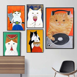 Funny Cute Cat Illustration Art Paintings from Gallery Wallrus | Eclectic Wall Art & Decor with Worldwide Shipping