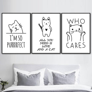 Cartoon Cat Line Drawings Gallery Wall Art Prints from Gallery Wallrus | Eclectic Wall Art & Decor with Worldwide Shipping