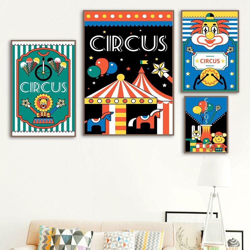 Retro Circus Poster Gallery Wall Art Pictures for Children's Bedroom from Gallery Wallrus | Eclectic Wall Art & Decor with Worldwide Shipping