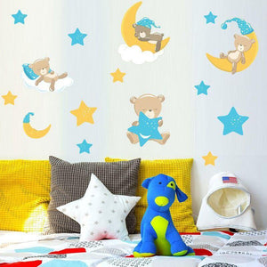 Goodnight Sleep Baby Bears Half Moon Stars Wall Stickers from Gallery Wallrus | Eclectic Wall Art & Decor with Worldwide Shipping