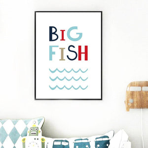 Cartoon Cute Big Fish Sea Art Prints from Gallery Wallrus | Eclectic Wall Art & Decor with Worldwide Shipping