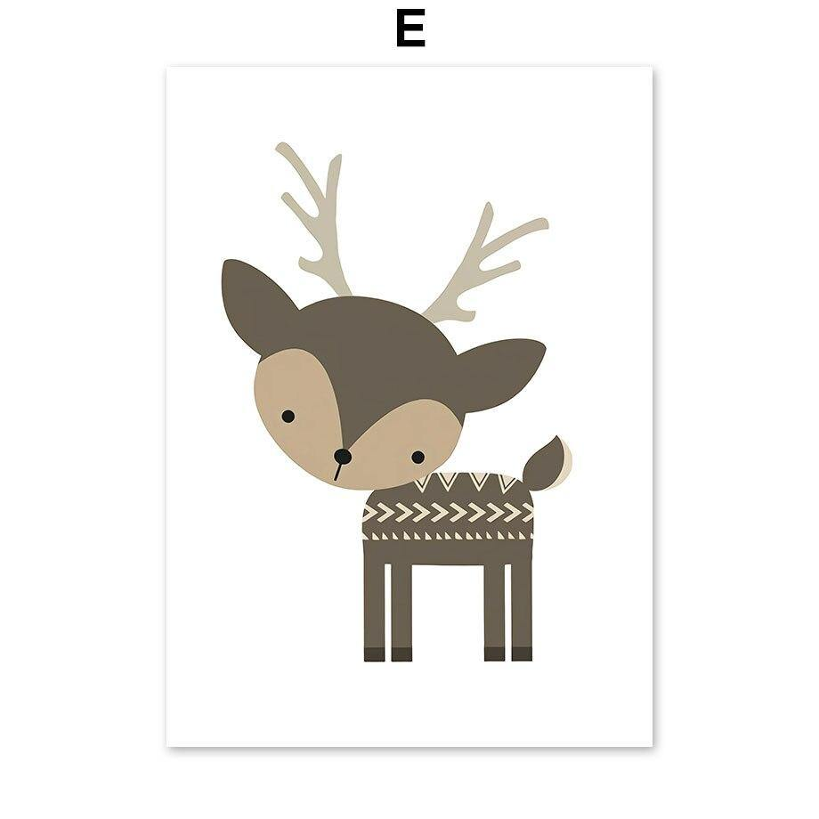 Cartoon Dinosaur Fox Deer Animal Art Prints Gallery Wall for Kids bedroom from Gallery Wallrus | Eclectic Wall Art & Decor with Worldwide Shipping