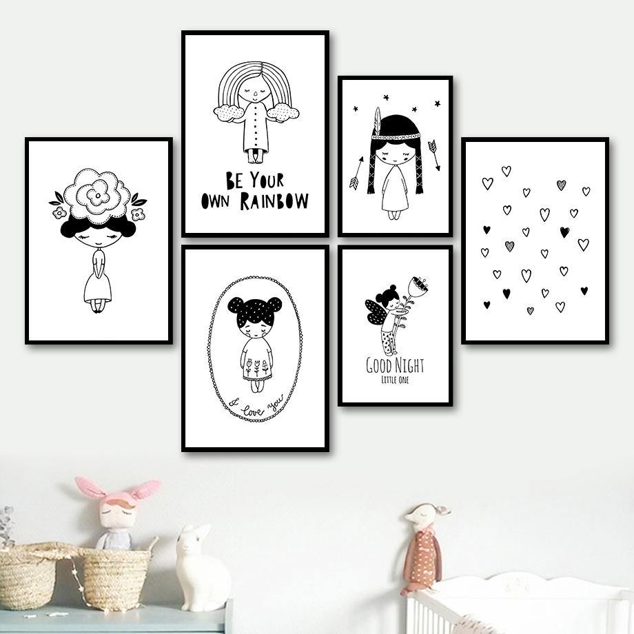 Black & White Girls Bedroom Cartoon Gallery Wall Art Prints from Gallery Wallrus | Eclectic Wall Art & Decor with Worldwide Shipping
