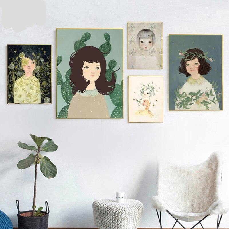 Green Girl Paintings Wall Art from Gallery Wallrus | Eclectic Wall Art & Decor with Worldwide Shipping