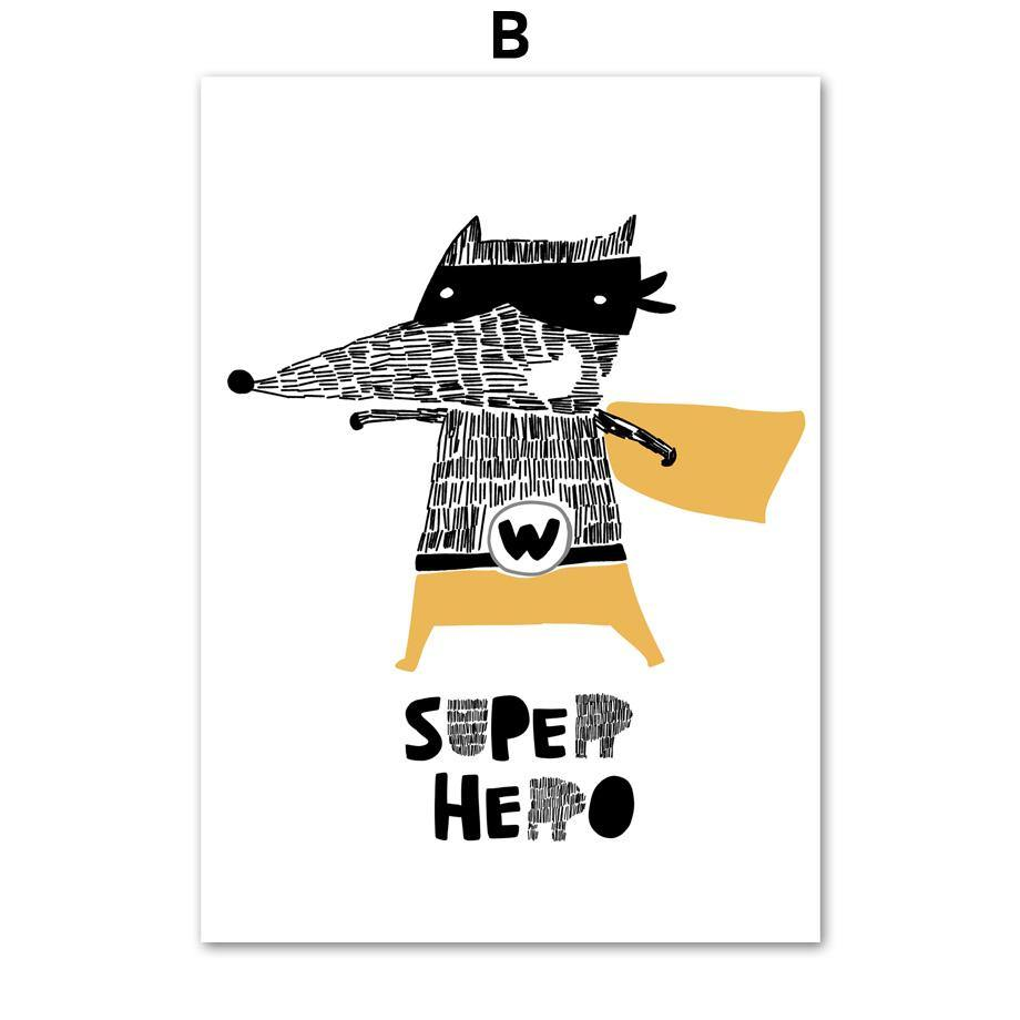 CBear Cat Wolf Superhero Wall Art Prints for Kids Bedroom from Gallery Wallrus | Eclectic Wall Art & Decor with Worldwide Shipping