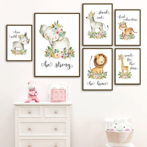 Lion Fox Elephant Nursery Inspirational Quotes Art Prints from Gallery Wallrus | Eclectic Wall Art & Decor with Worldwide Shipping