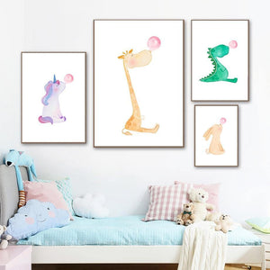 Cartoon Unicorn Giraffe Rabbit Dinosaur Bubblegum Gallery Wall Art Prints from Gallery Wallrus | Eclectic Wall Art & Decor with Worldwide Shipping