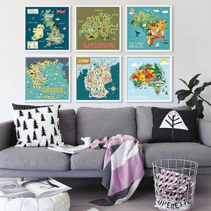 Square Country Map Cartoon Gallery Wall Art Prints from Gallery Wallrus | Eclectic Wall Art & Decor with Worldwide Shipping