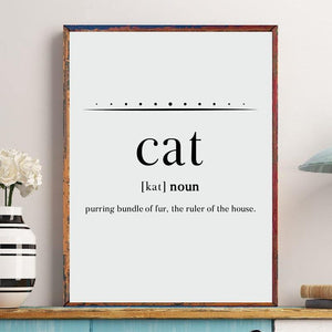Funny Cat Dictionary Definition Wall Art Print from Gallery Wallrus | Eclectic Wall Art & Decor with Worldwide Shipping