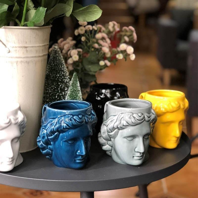 Ceramic Ancient Greek Apollo Head Cup (Various Colors) from Gallery Wallrus | Eclectic Wall Art & Decor with Worldwide Shipping
