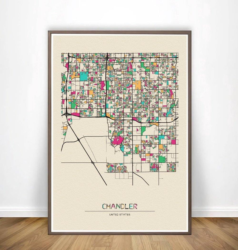 Colorful City Map Wall Art Prints: Chicago, Christchurch+ More from Gallery Wallrus | Eclectic Wall Art & Decor with Worldwide Shipping