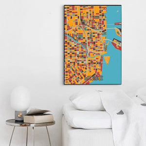 Colorful City Map Gallery Wall Art Pictures from Gallery Wallrus | Eclectic Wall Art & Decor with Worldwide Shipping