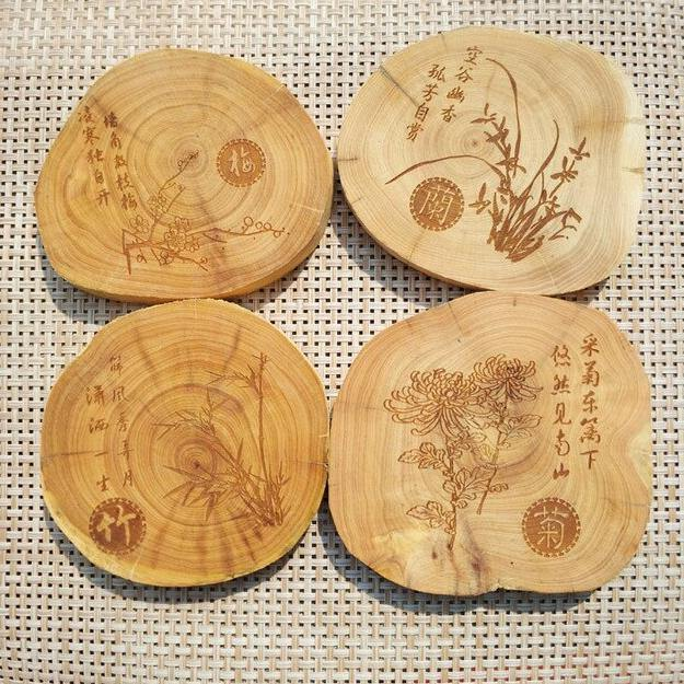 Traditional Chinese Style Cup Coasters from Gallery Wallrus | Eclectic Wall Art & Decor with Worldwide Shipping