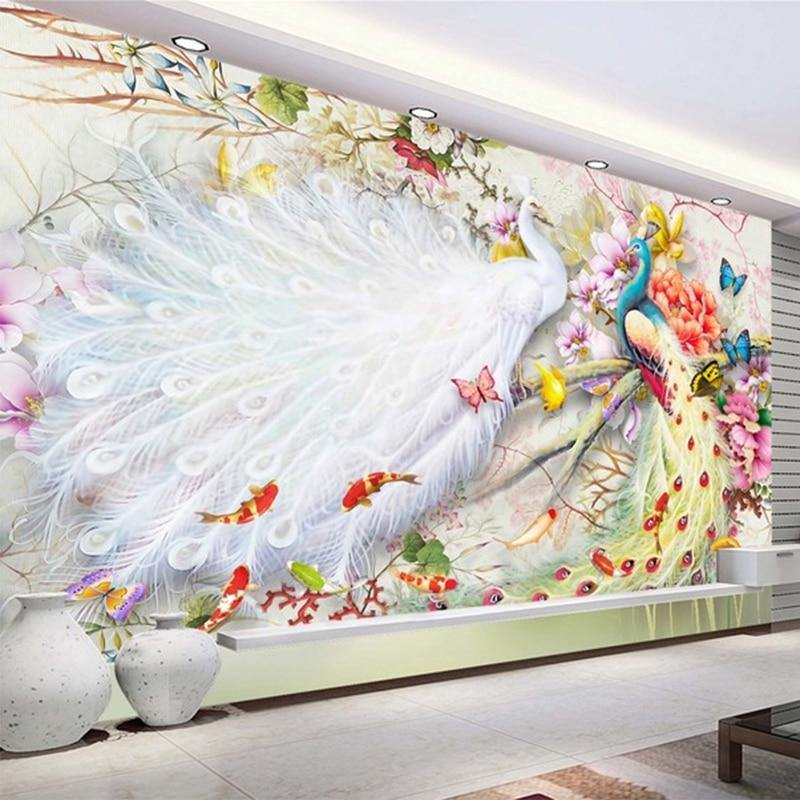 3D Watercolor Peacock Peony Wall Mural from Gallery Wallrus | Eclectic Wall Art & Decor with Worldwide Shipping