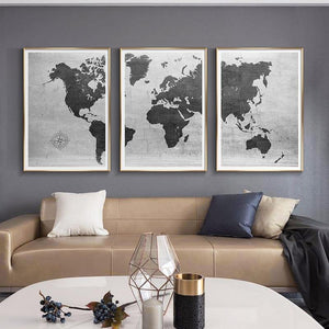 Black & White Classical World Map Art Gallery Trio from Gallery Wallrus | Eclectic Wall Art & Decor with Worldwide Shipping