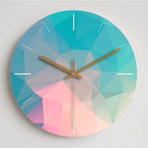 Blue Green & Pink Metal Wall Clock from Gallery Wallrus | Eclectic Wall Art & Decor with Worldwide Shipping