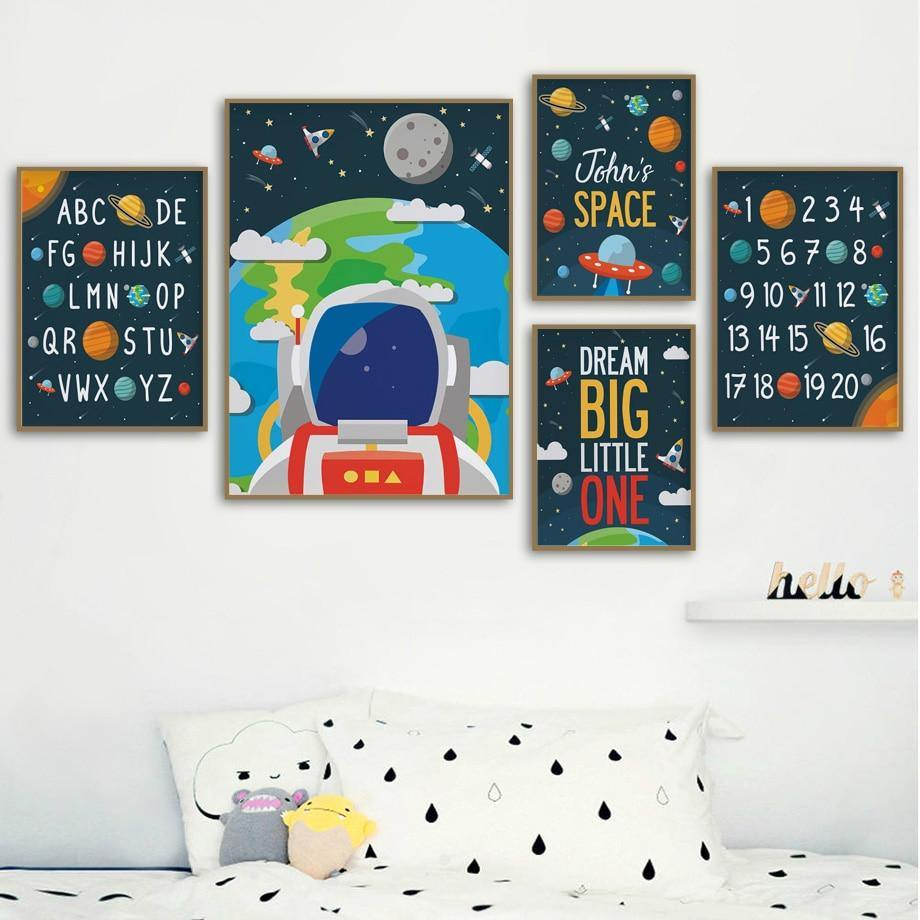 Astronaut Space Alphabet Numbers Nursery Wall Art Pictures from Gallery Wallrus | Eclectic Wall Art & Decor with Worldwide Shipping
