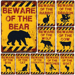 Yellow Metal Beware Warning Signs (Various Animals / Things ) Mix & Match from Gallery Wallrus | Eclectic Wall Art & Decor with Worldwide Shipping