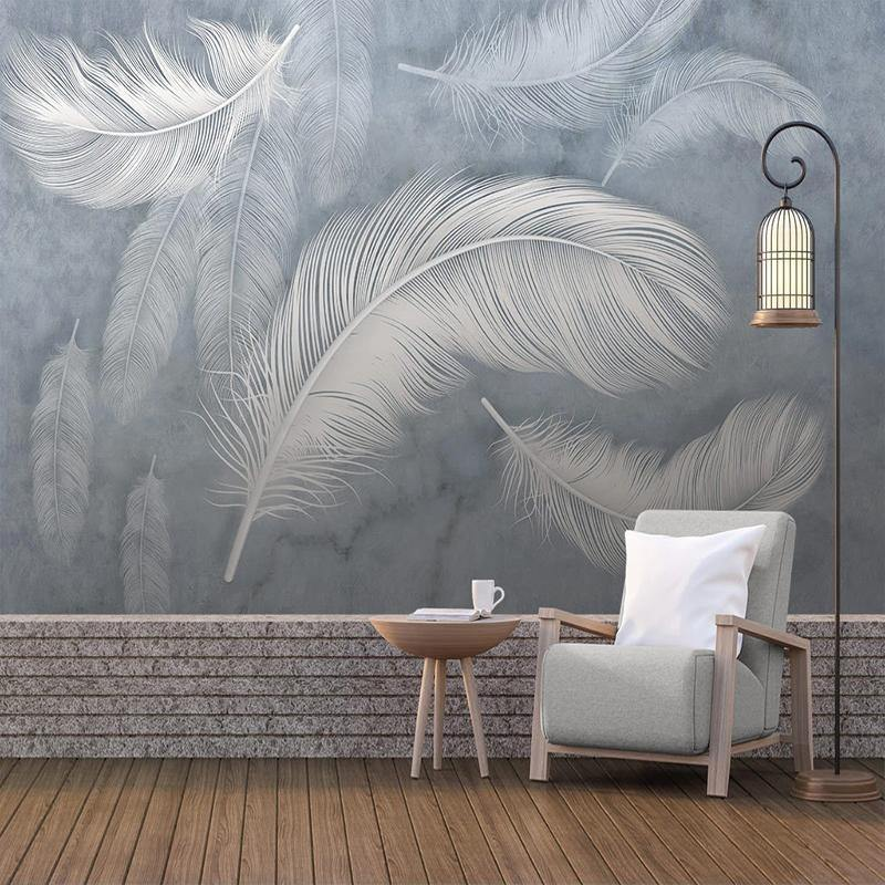 Dreamy White Large Feathers Wall Art Mural from Gallery Wallrus | Eclectic Wall Art & Decor with Worldwide Shipping