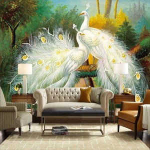 3D Painting Beautiful White Peacock Wall Mural from Gallery Wallrus | Eclectic Wall Art & Decor with Worldwide Shipping