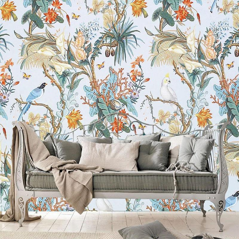 Vintage Flowers and Birds Tropical Wall Decor Mural from Gallery Wallrus | Eclectic Wall Art & Decor with Worldwide Shipping