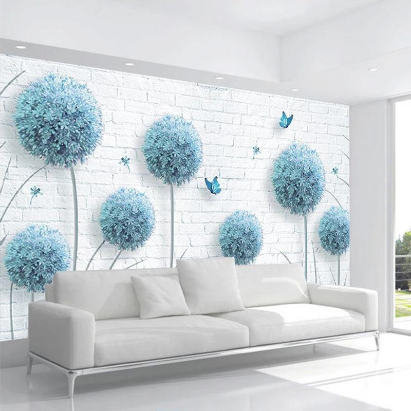 3D Blue Dandelion Brick Wall Mural from Gallery Wallrus | Eclectic Wall Art & Decor with Worldwide Shipping