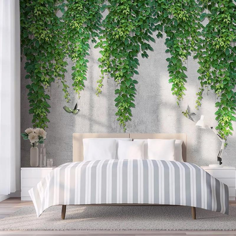 Green Vine Leaves Wall Mural from Gallery Wallrus | Eclectic Wall Art & Decor with Worldwide Shipping