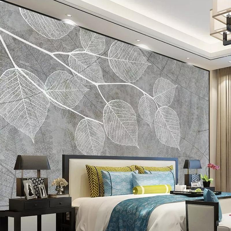 3D Modern White Drawing Leaves Wall Mural from Gallery Wallrus | Eclectic Wall Art & Decor with Worldwide Shipping