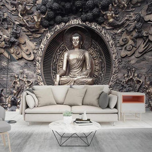 Buddha Statue Wall Mural from Gallery Wallrus | Eclectic Wall Art & Decor with Worldwide Shipping