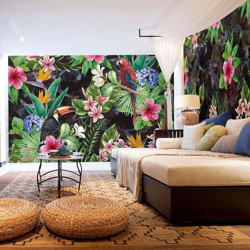 Colorful Rain Forest Nature Parrot Leaf Wall Mural from Gallery Wallrus | Eclectic Wall Art & Decor with Worldwide Shipping