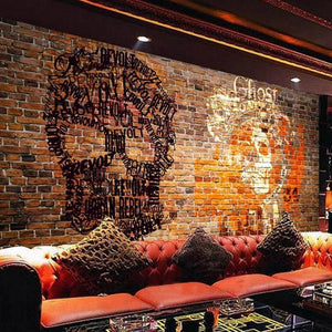 Big Head Skull Brown Bricks Wall Mural from Gallery Wallrus | Eclectic Wall Art & Decor with Worldwide Shipping