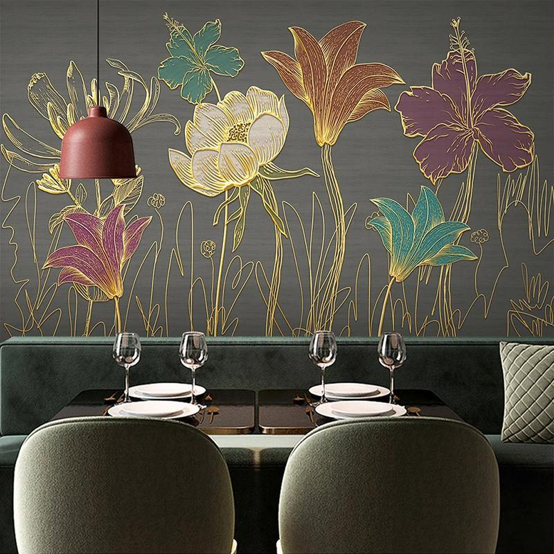 3D Embossed Gold Frame Colorful Flowers Wall Mural from Gallery Wallrus | Eclectic Wall Art & Decor with Worldwide Shipping