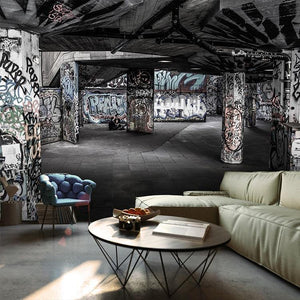 Abandoned Graffiti Warehouse Wall Murals from Gallery Wallrus | Eclectic Wall Art & Decor with Worldwide Shipping