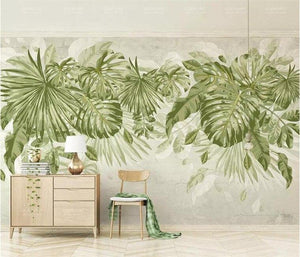 Watercolor Fresh Green Leaves Wall Mural from Gallery Wallrus | Eclectic Wall Art & Decor with Worldwide Shipping